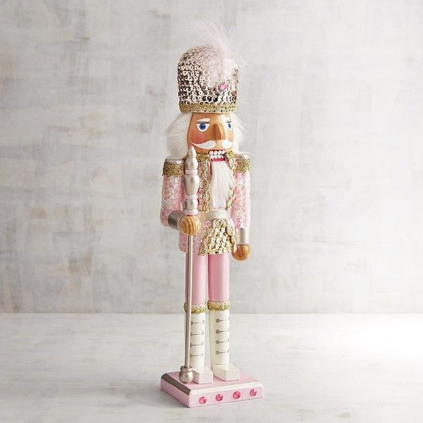 Pier 1 Imports Pink Sequined 15 Nutcracker 30 Liked On Polyvore Featuring Home Home Decor Holid Pink Christmas Decorations Pink Christmas Pink Ornament