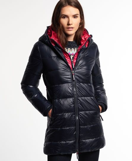 Superdry Base Camp Midi Puffer Jacket Navy