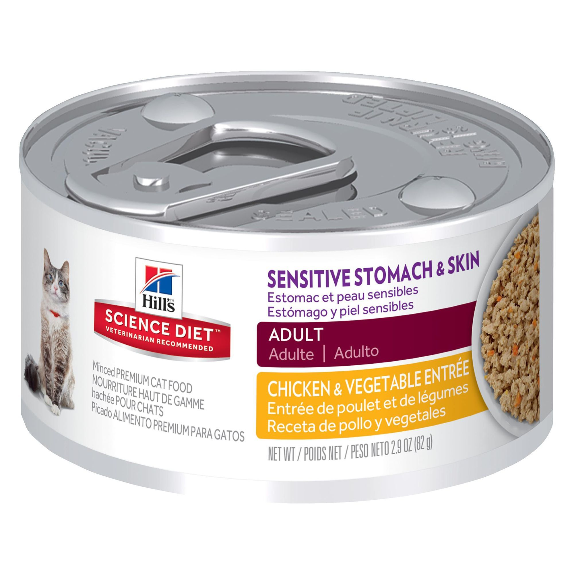 Hill S Science Diet Sensitive Stomach And Skin Adult Cat Food Chicken And Vegetable Size 82 G Copper Green Zinc Cats Including Those With Hills Science Diet Science Diet Canned Cat Food