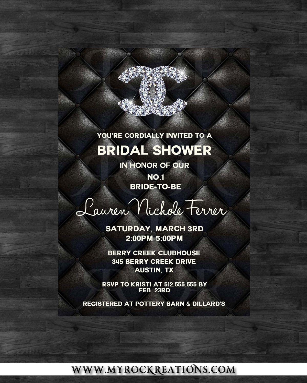 bridal shower invitations free printable templates%0A Chanel Bridal Shower InvitationDigital Printable Invitation          via  Etsy