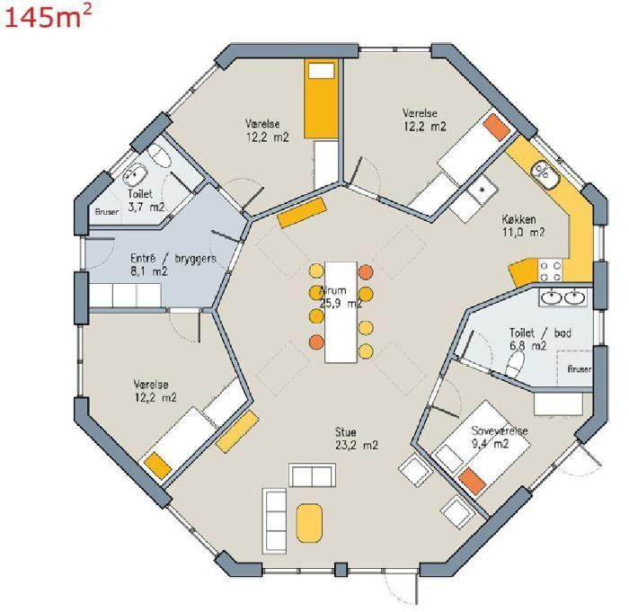 Forslag til plantegning af 8-kantet hus  hus  Pinterest