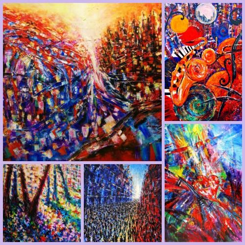 """Artist Helen Kagan grew up in an oppressed Communist state, but creates uplifting joyful art to overcome that mindset and celebrate well-being. She is one of 8 women artists featured in """"Art with a Healing Touch"""" which can be found on www.ArtsyShark.com"""