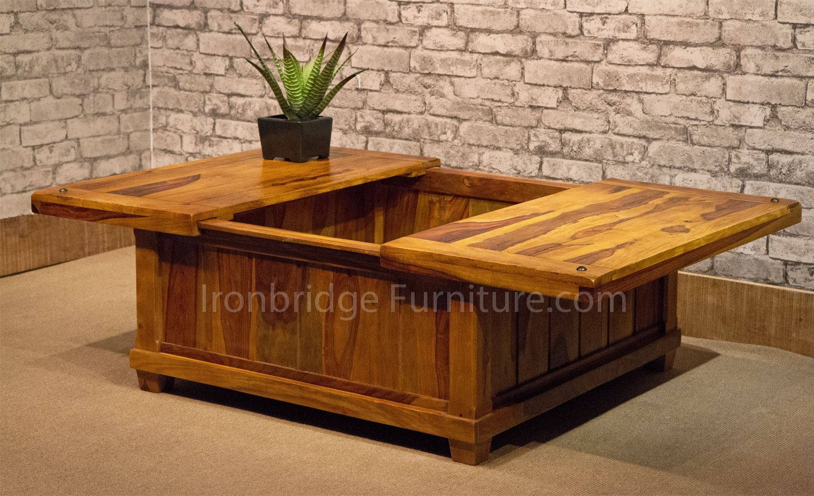 coffee table with sliding top storage