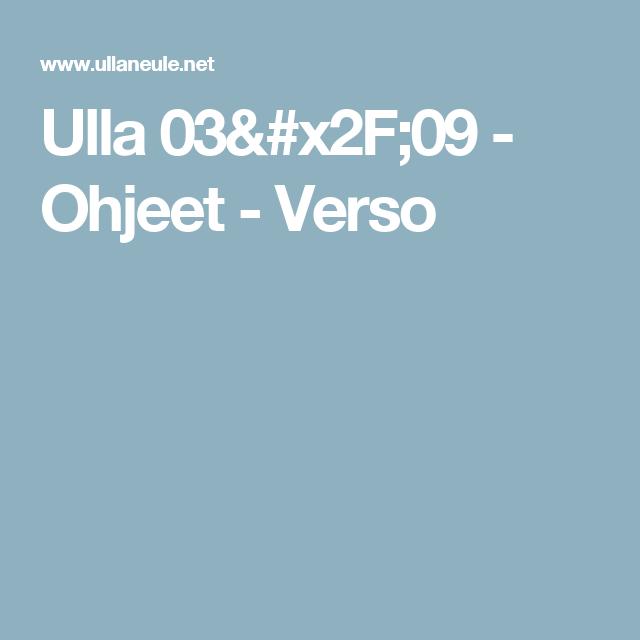 Ulla 03/09 - Ohjeet - Verso