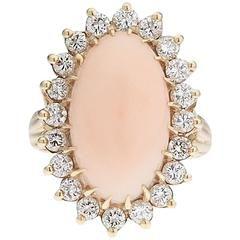 Velký andělský kožený korálový zlatý koktejlový prsten