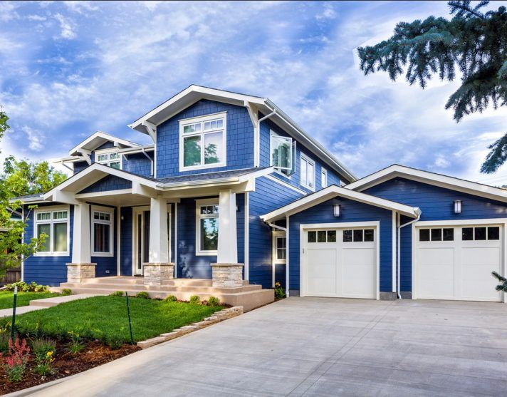 Top 78 Supreme Modern Blue And White Exterior Paint Color Combinations Samples That Can Decor With Garage Door The Touch Inside House Home Painting Pic