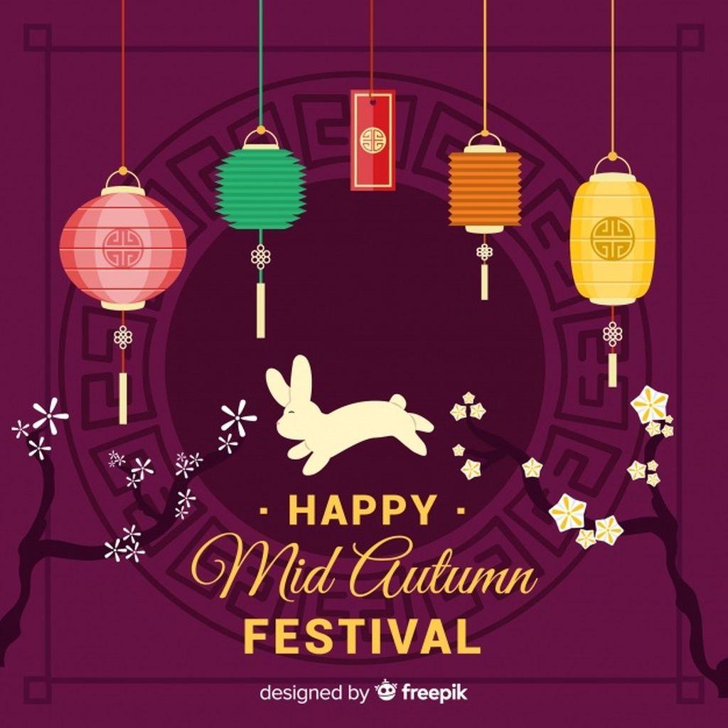 Mid autumn festival background design #paid, , #sponsored, #SPONSORED, #autumn, #design, #background, #Mid