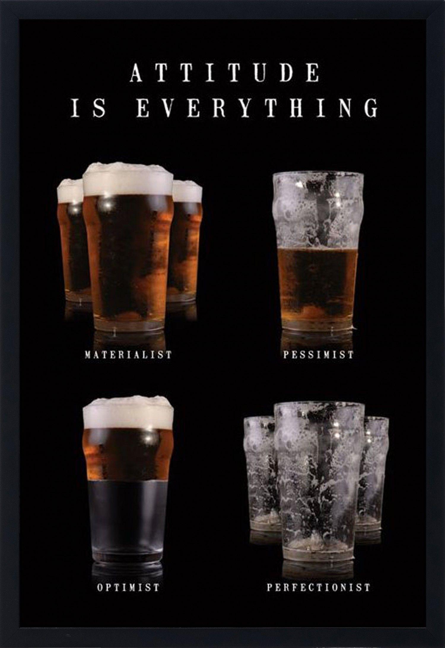 quadro decorativo poster copos de cerveja atitude é tudo s vidro