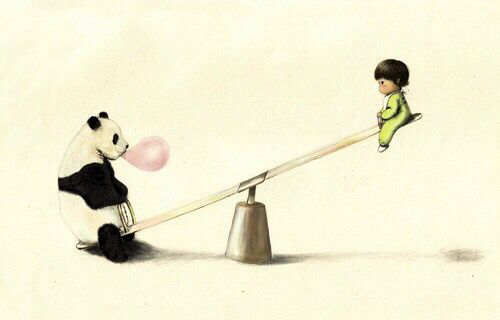 Panda bear blowing a bubble with pink bubble gum & a boy on a seesaw art |  Panda artwork, Baby panda, Panda illustration