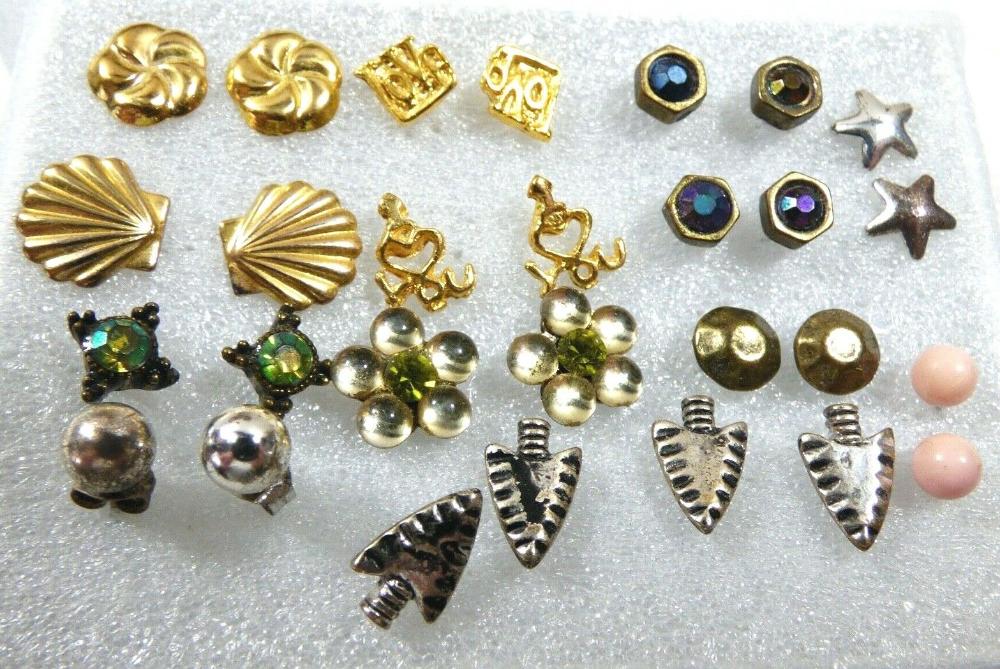 Mixed Lot Of 14 Fancy Fashion Ball Arrow Flower Star Shell Stud Earrings Ebay In 2020 Stud Earrings Fancy Earrings