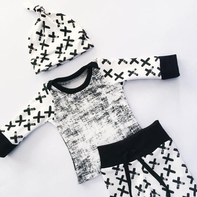 91ec2a5e8b402 Contrast Pattern Top + Pants + Hat Set | Products in 2018 | Baby ...