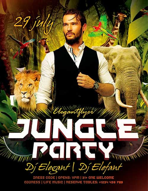 Free Jungle Party Psd Flyer Template  HttpFreepsdflyerCom