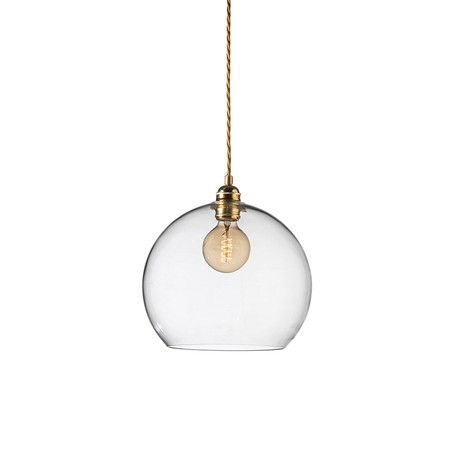 Ebb flow rowan pendant lamp clear with brass 28cm at amara