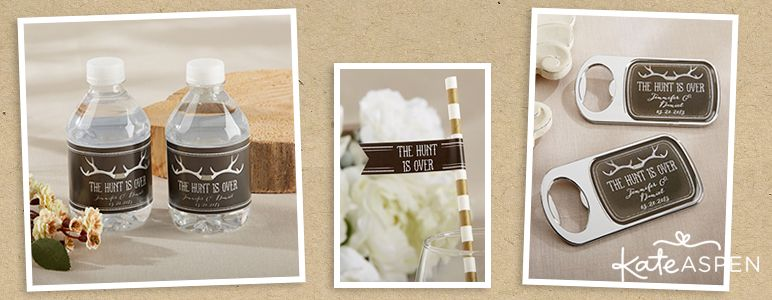 When the hunt is over and the happy couple is engaged, celebrate with an antler themed engagement party! | Kate Aspen Engagement Party Favors and Decor | Bridal Shower | The Hunt Is Over