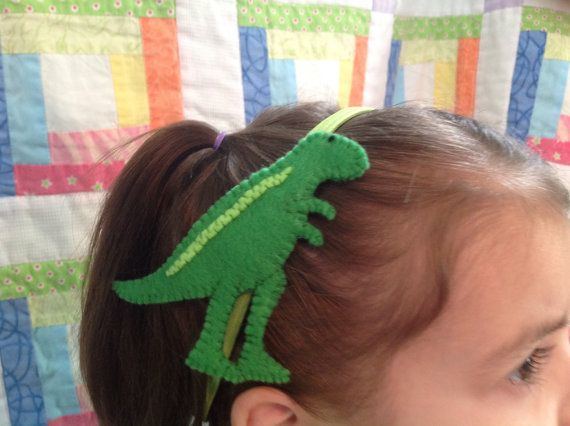Head band elastic band with felt TRex  design from by BEKmonkey, $10.00