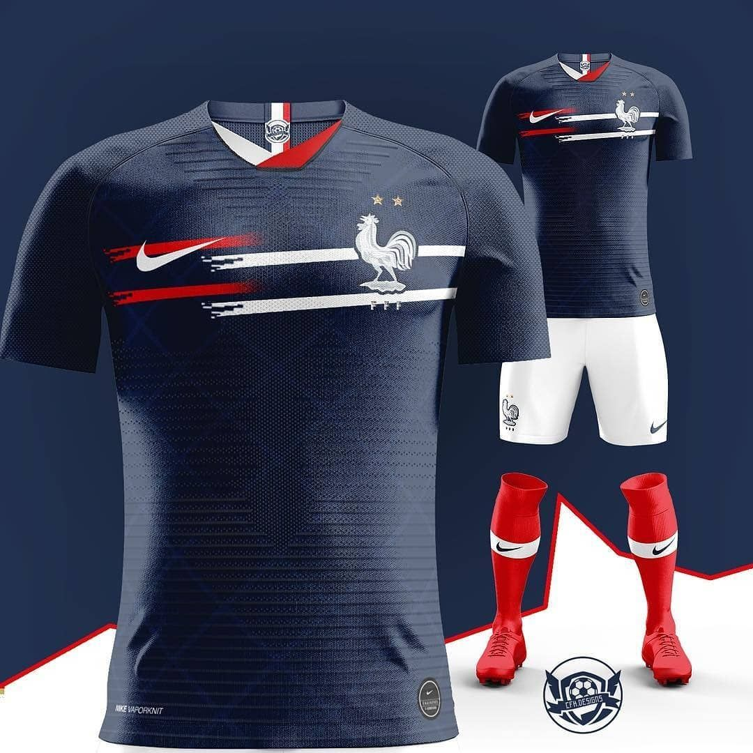 World Champs How Will They Do In The Euros France Concept Kit Designed By Cfk Designs Camisetas De Futebol Camisas De Futebol Camisa De Futebol