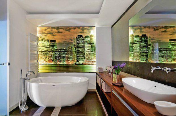 łazienka Z Fototapetą Na ścianie łazienka Bathroom Bathtub