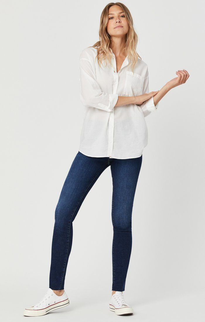 These super skinnies in a rich indigo wash are softer lighter and stretchier than you could ever imagine a skinny jean could be with an allorganic cotton fabrication that looks like classic denim but feels as soft as loungewear.Model is 5'10