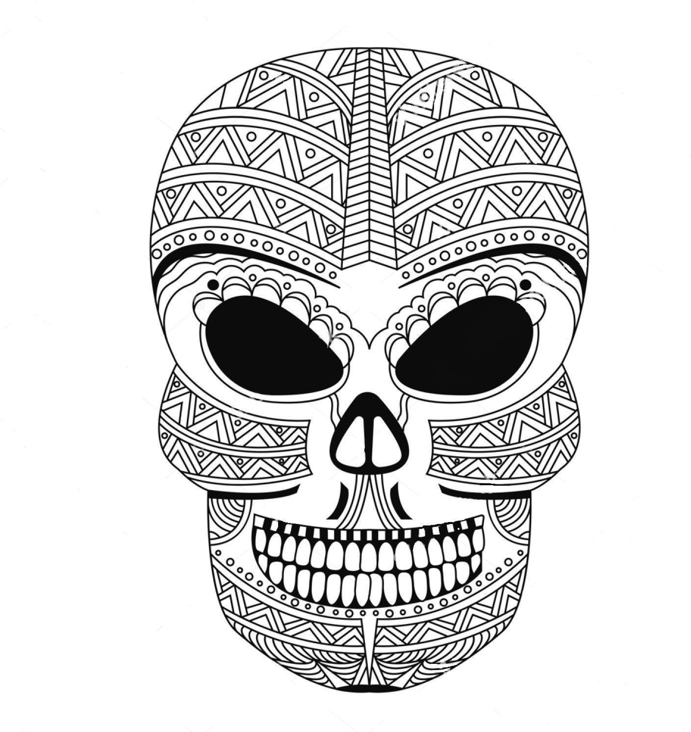 Skull zentangle coloring page Colorir Pinterest