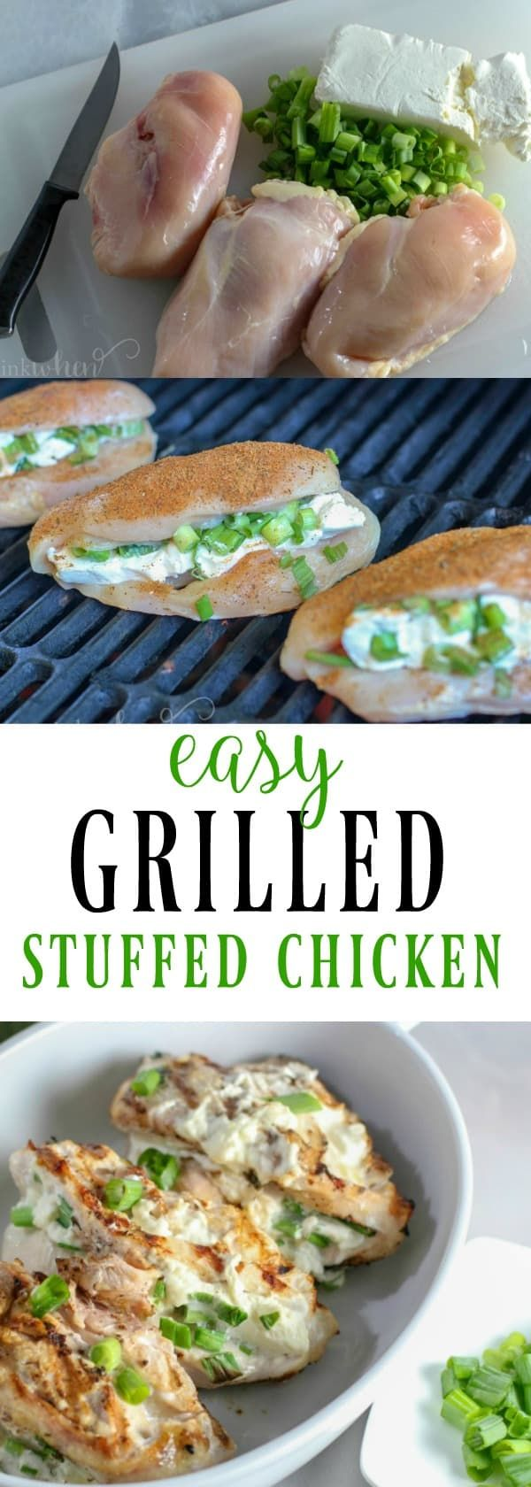Grilled Cream Cheese and Onion Stuffed Chicken Breast