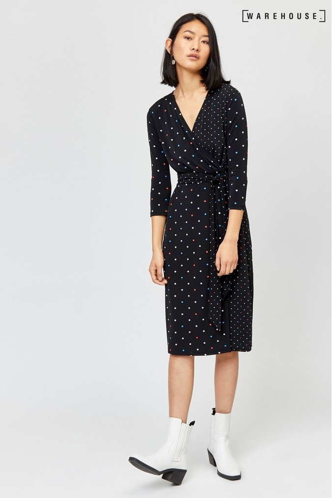 Womens Warehouse Black Multi Colour Spot Wrap Dress Black