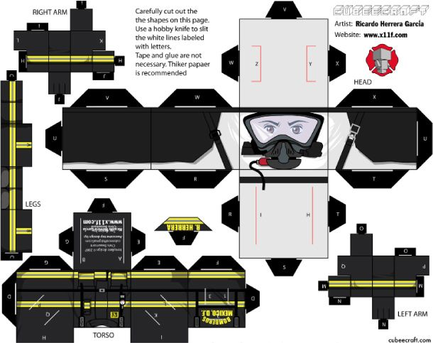Blog Paper Toy papertoys Cubeecraft Firefighters template preview 1 Pompiers Cubeecraft de Ricardo Herrera (4)