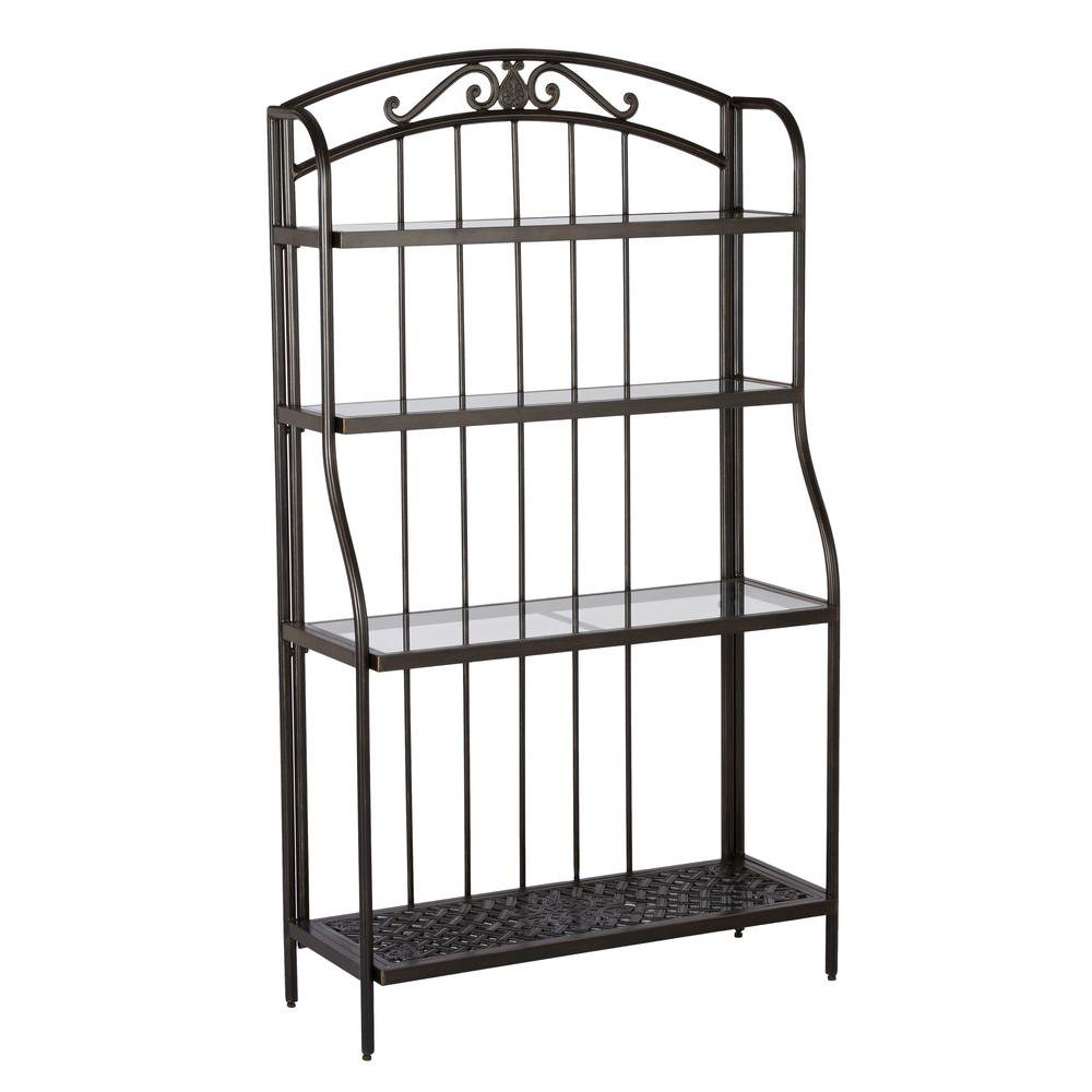 Hampton Bay Edington Bakers Rack 131 012 Br Cast Aluminum Patio