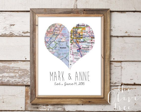 Heart Map Art Print, Custom Personalized Printable, DIGITAL FILE Wedding decor, Marriage, love