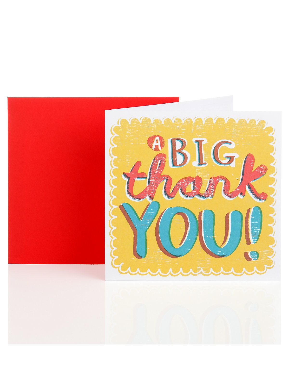 big yellow thank you greetings card  ms  thank you