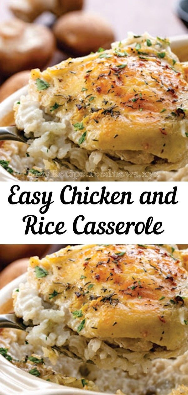 Easy Chicken and Rice Casserole #easy #chicken #dinner #casserole #recipe #food #lowcarb #crockpot