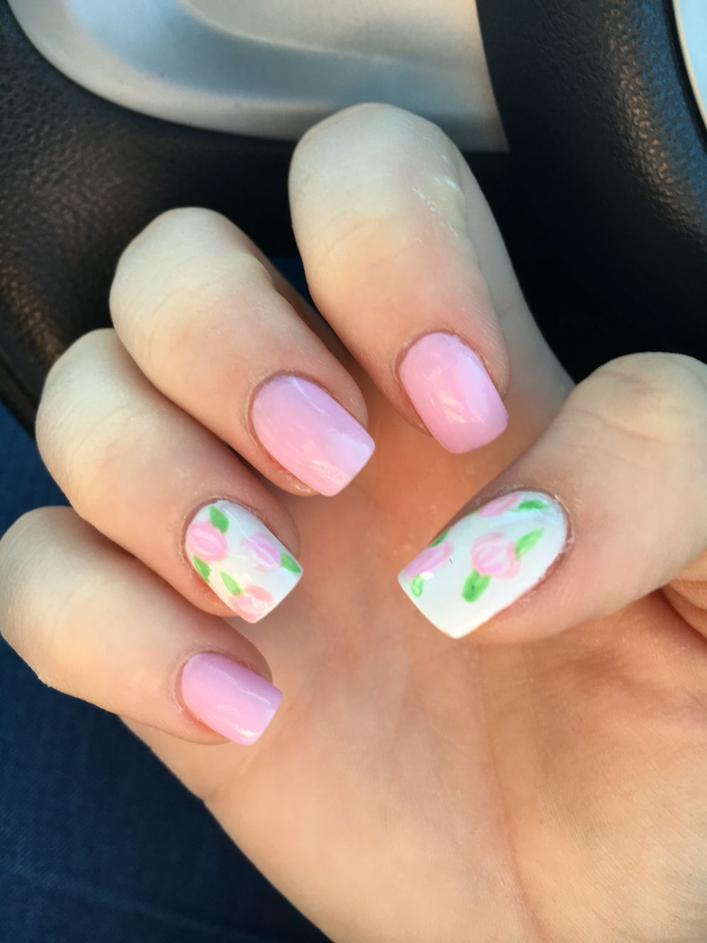 Nail art, pink nails, flowers, Spring
