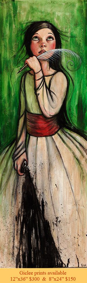 """Ink  12""""x36"""" Acrylic on canvas  SOLD, limited edition gicle $300"""