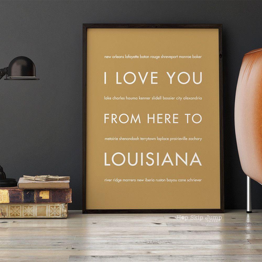 Louisiana State Wall Art Gift Idea Hopskipjumppaper With Images Louisiana Art City Wall Art Art Print Gifts