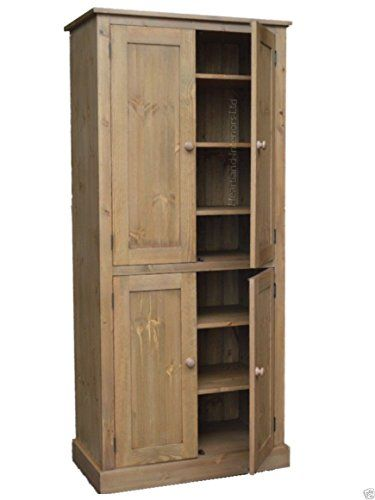 Solid Pine Storage Cupboard Handcrafted Waxed 4 Door Pantry  Larder Linen Filing Dual Storage Kitchen Or Hallway Cabinet Choice Of Colours No Flat Pu2026