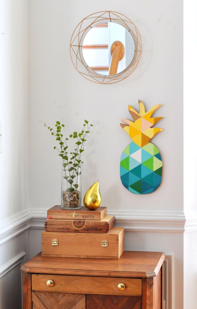 DIY Teal Gold Geometric Pineapple Wall Art madeinaday.com | BHG\'s ...
