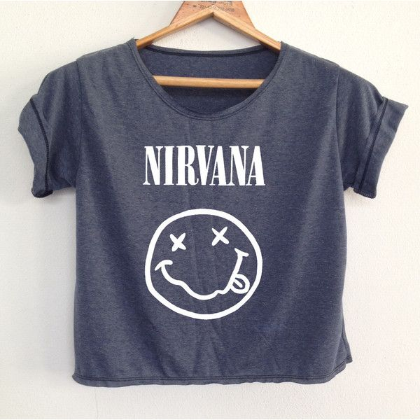 b4fb6bed1 DenimJeanBag Crop Nirvana Tank Tunic Nirvana Crop Top Shirt Tshirt... ($13) ❤  liked on Polyvore featuring tops, tunics, shirts, band shirts, black, ...