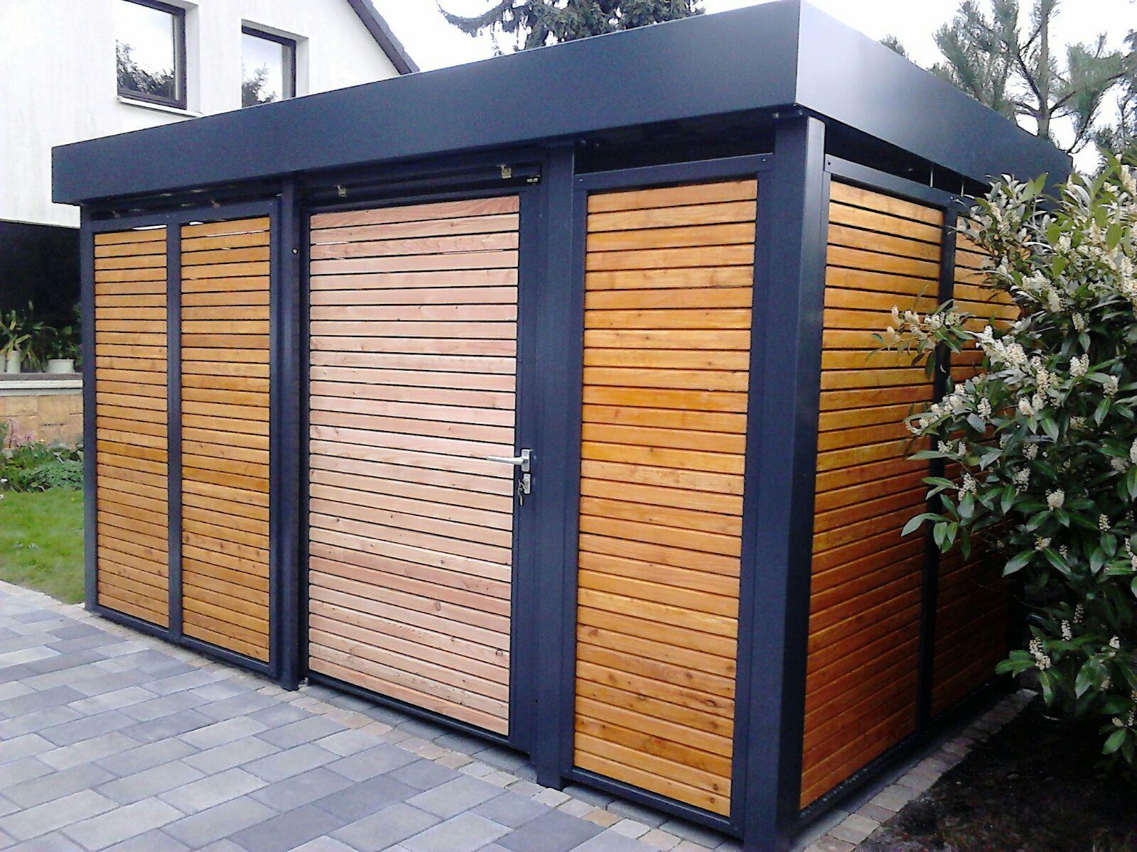 fahrradeinhausung von siebau carport einhausungen eingangs berdachung m lltonnenbox garage. Black Bedroom Furniture Sets. Home Design Ideas