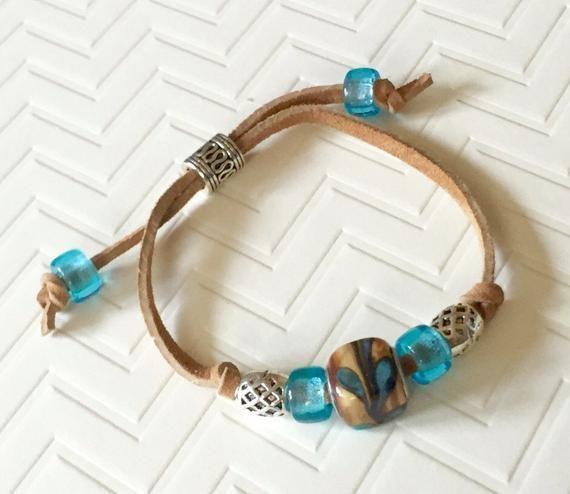 Photo of Boho bracelet, suede bracelet, suede leather bracelet, adjustable bracelet, tan, …