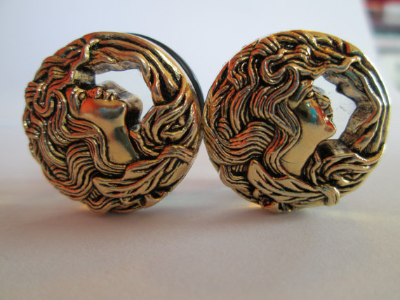 Vintage Gold Mermaid Button Plugs - Available in 3/4 in and 7/8 in