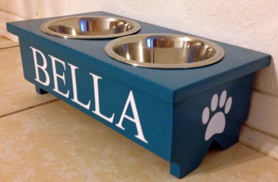 Personalized Raised Dog Bowl Stand With Two 1 Quart Bowls Hand