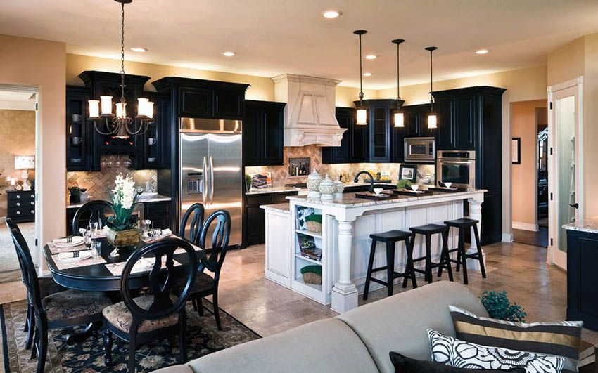 29 Open Kitchen Designs With Living Room Kitchen Design Open Open Concept Kitchen Black Kitchen Cabinets Dining room appealing black kitchen