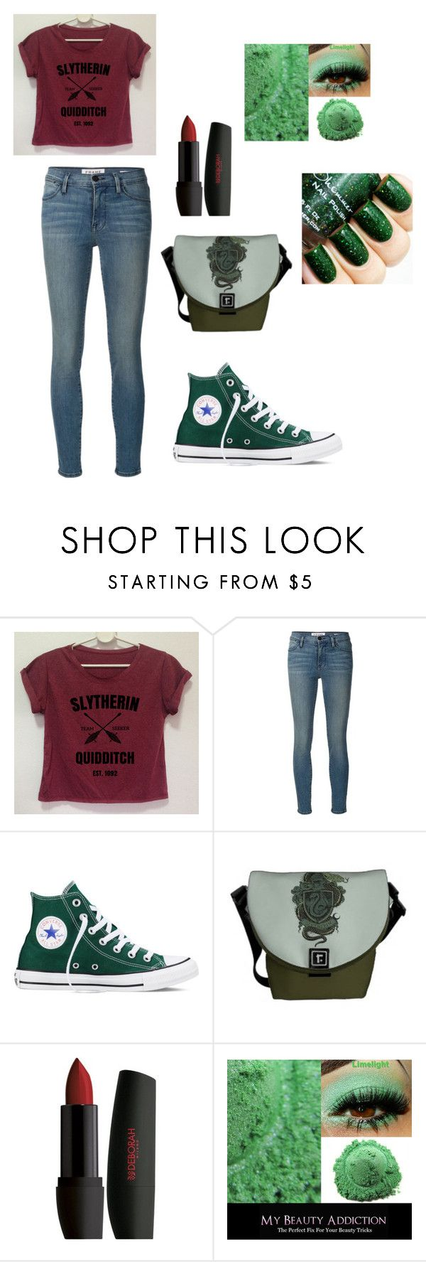 """""""Slytherin Quidditch"""" by cheyennerafferty on Polyvore featuring Frame Denim and Converse"""