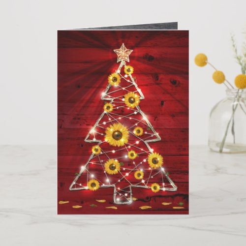 Red Gold Rustic Sunflower Christmas Tree Holiday Card | Zazzle.com #sunflowerchristmastree