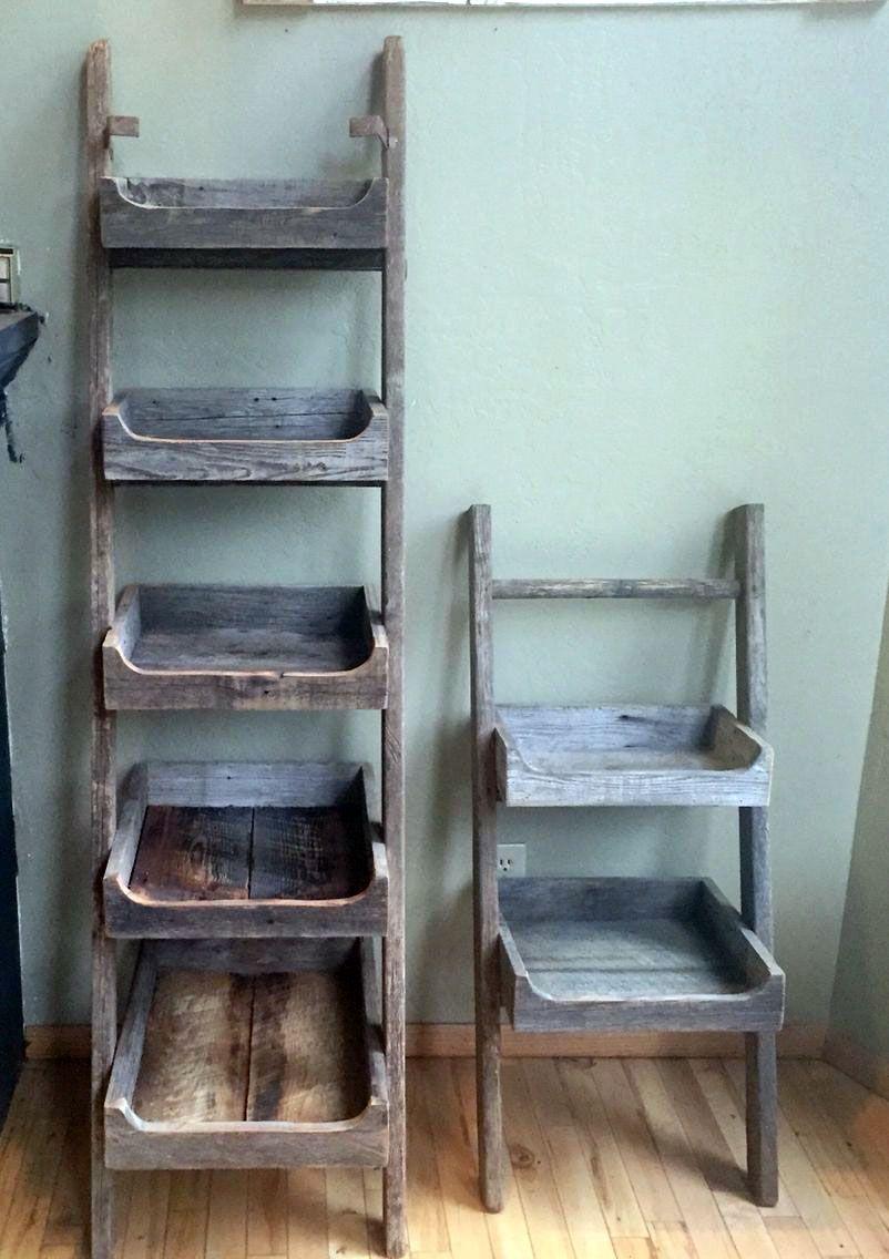 Do It Yourself Step Ladder Shelves Old Wood Ladder Ladder Shelf