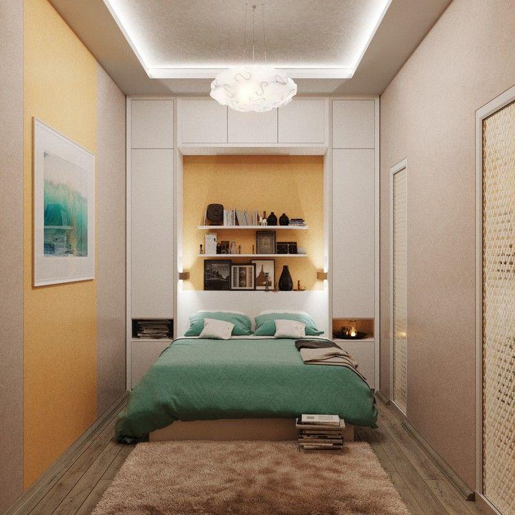 kleine-schlafzimmer-modern-gestaltet-schrank-hinter-bett-regale ...