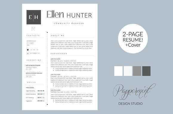 Resume Template with Cover Letter and photo for WORD The Ellen