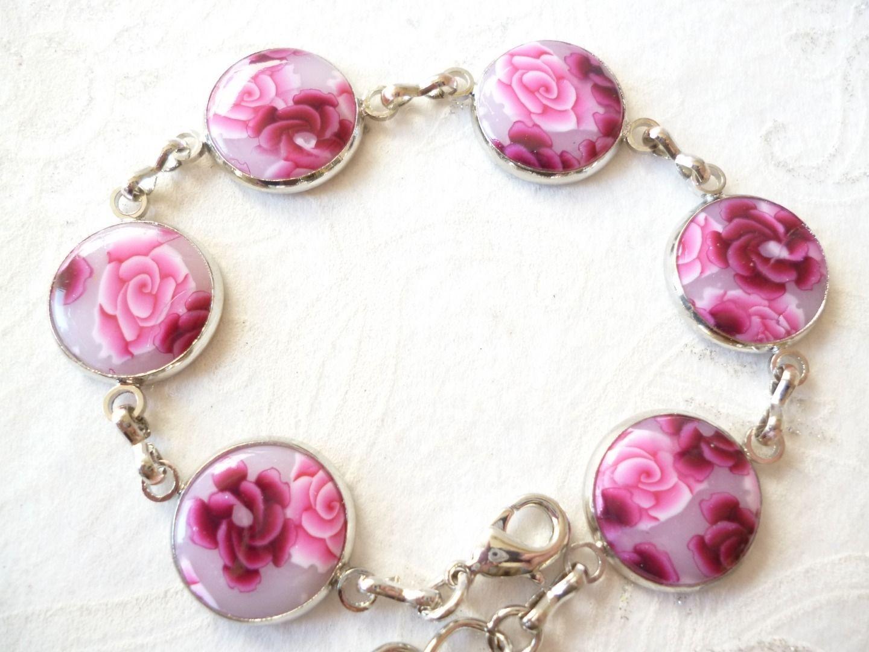 bracelet 6 pastilles rondes, roses rose et bordeaux, N°2 : Bracelet par patfimo
