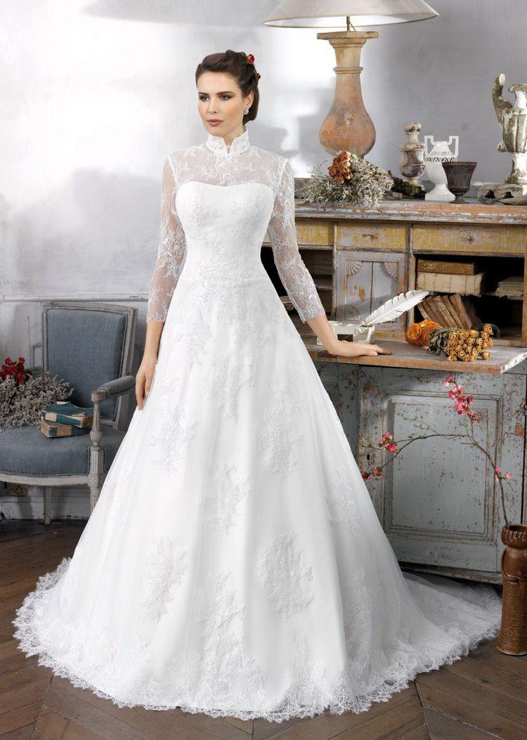 klassische Brautkleider -elegant-prinzessin-spitze-kragen-weiss ...