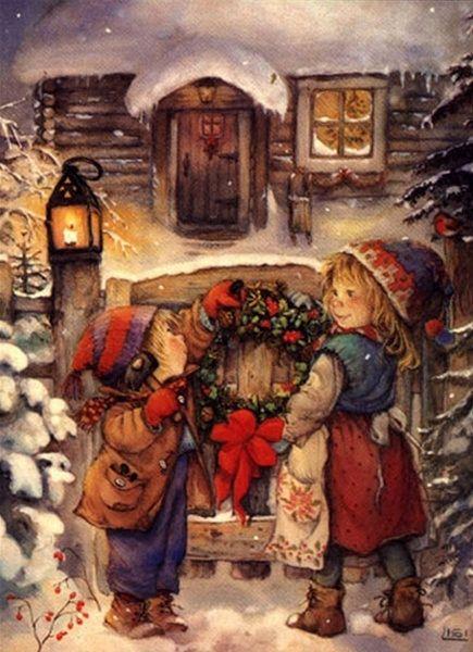Znalezione obrazy dla zapytania Christmas Card vintage famous artist painter graphic