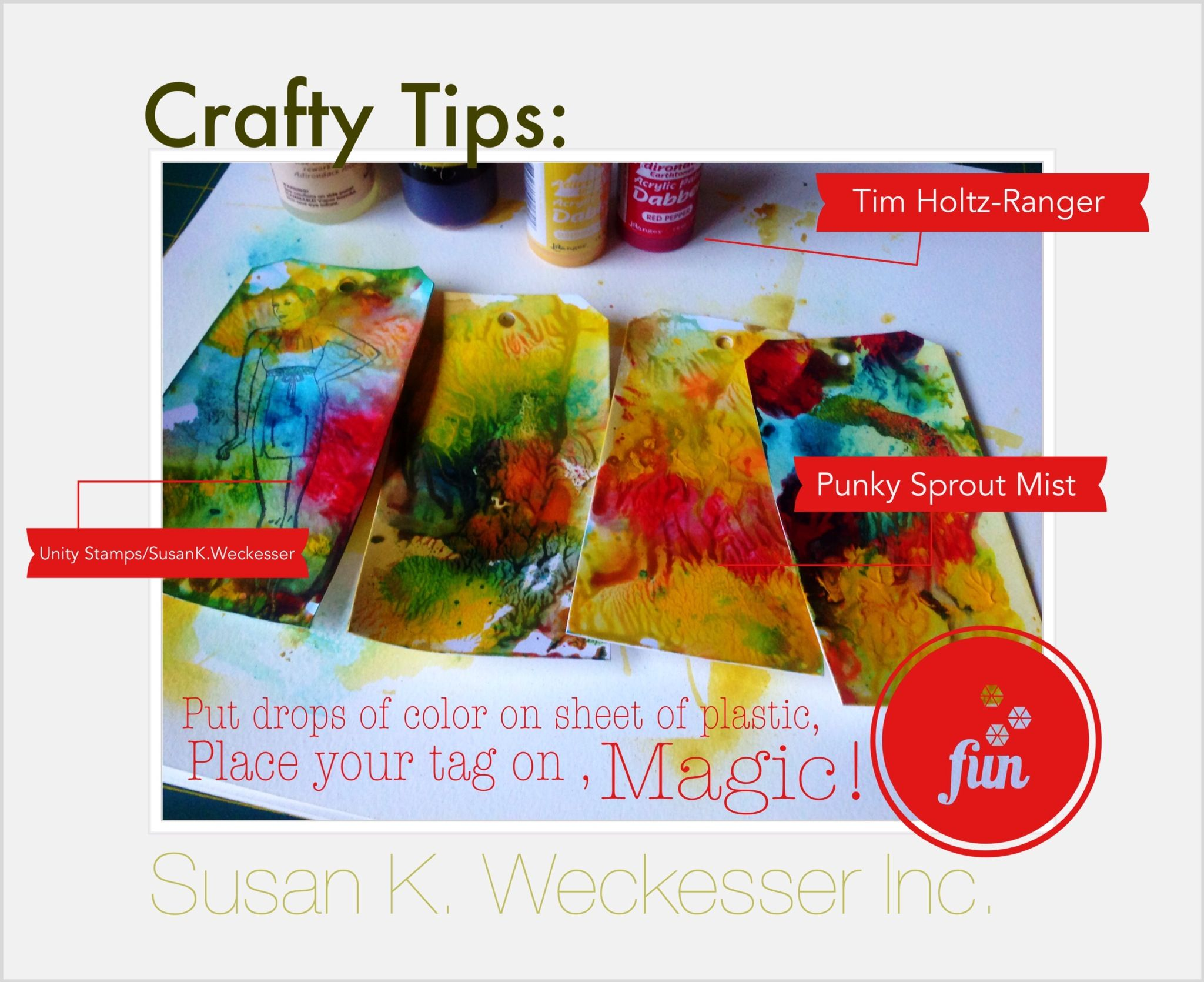 Create a cool funky tie-dye look using Acrylic paints, inks & mists!